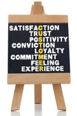 Termen over tevredenheid geschreven op schoolbord — Stockfoto