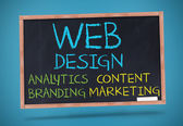 Web design terms written with a chalk — Stock Photo