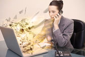 Laptop screen of a businesswoman exploding — Stock Photo