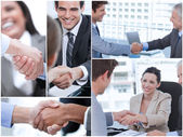 Collage of various pictures showing business people — Stock Photo