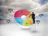 Businessman drawing a colorful pie chart — Stock Photo