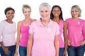 Groupe diversifié de femmes portant des tops roses et ruban de cancer du sein — Photo