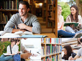 Collage of students reading books — Stock Photo