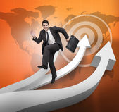 Businessman jumping over arrows and world map — Stock Photo