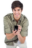 Handsome man offering engagement ring — Stock Photo