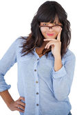 Beautiful woman wearing glasses with her hand on hip — Stock Photo