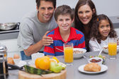 Family during the breakfast — Stock Photo