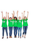 Team of happy female environmental activists cheering — Stock Photo