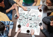 Drawings of charts drew on a poster — Stock Photo