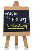 Implementation written on blackboard in german — Stock Photo