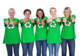Team of female environmental activists giving thumbs up — Stock Photo