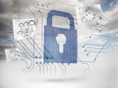 Big padlock with circuit board and drawings floating around — Stock Photo