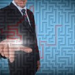 Businessman selecting a labyrinth — Stock Photo