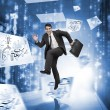 Businessman jumping in a corridor with drawings around — Stock Photo #28060335