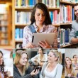 Collage of cheerful students — Stockfoto