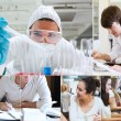 Stock Photo: Montage with students doing chemistry