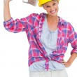 Happy handy womlooking at camera — Stock Photo #28060549