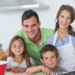 Stock Photo: Family home baking together in kitchen