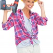 Smiling handy womholding power drill — Stock Photo #28060745