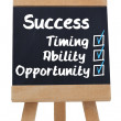 Success terms written with a chalk on chalkboard — Stock Photo