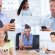 Collage of pictures showing people using their mobile phone — Stock Photo