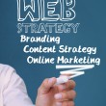 Businessman writing web strategy — Stock Photo