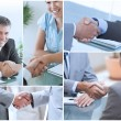 Collage of pictures showing business people — Stock Photo