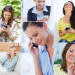 Collage of women using their cell phone — Stock Photo
