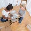 Stock Photo: Young housemates unpacking in new home
