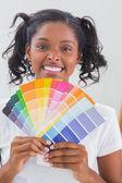 Uśmiechnięta kobieta pokazano kolor wykresy — Zdjęcie stockowe