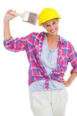 Happy handy woman looking at camera — Stok fotoğraf