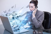 Laptop of a businesswoman exploding — Stock Photo