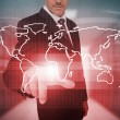Stock Photo: Businessman pressing red world map interface