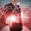 Businessman pressing red world map interface — Stock Photo