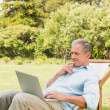 Musing laptop on sun lounger — Stock Photo #29445237