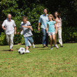Happy multi generation family playing football  — Stock Photo