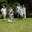 Happy multi generation family playing football — Stock Photo #29445397