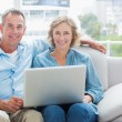 Happy couple relaxing on their couch using the laptop — Stock Photo #29445631