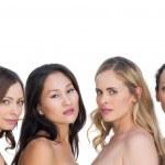 Sensual nude models posing and looking at camera — Stock Photo