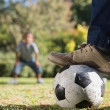 Stock Photo: Father and son playing football