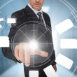 Stock Photo: Businessmusing wheel interface