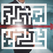 Стоковое фото: Businessmtouching futuristic qr code with arrow interface