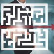 Stock Photo: Businessmtouching futuristic qr code with arrow interface