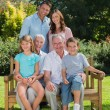 Smiling multi generation family sitting on a bench in park — Stock Photo #29447225