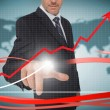 Businessman touching growth graph on futuristic interface with r — Stock Photo #29447335