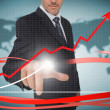 Businessman touching growth graph on futuristic interface with r — Stock Photo