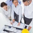 Smiling architect team working together — Stock Photo