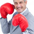 Happy businessman with boxing gloves — Stock Photo