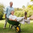 Smiling man pushing his wife in a wheelbarrow — Stock Photo
