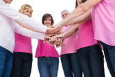 Enthusiastic women wearing pink for breast cancer posing in circ — Stock Photo